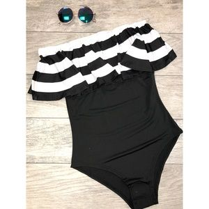Other - Un-Padded Flounce Stripe Off Shoulder Swimsuit